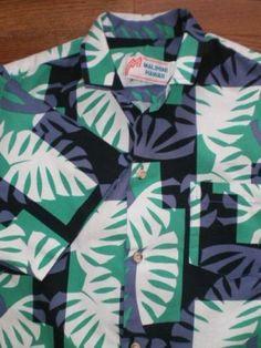 VINTAGE! MENS S/M MALIHINI s/s HAWAIIAN shirt LEAF pattern SMALL/MEDIUM 1970s