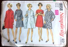 """1960's Simplicity Coat, Jacket and One-Piece Dress Pattern - Bust 44"""" - No. 8058 by backroomfinds on Etsy"""