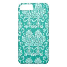 Aqua Victorian Damask iPhone 7 Plus Case