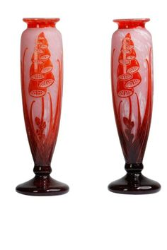 Art Deco pair of vases, Le Verre Français, France 1920/1930 on CLASSIQS - www.classiqs.com
