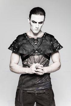 Men black faux leather shoulders bolero, medieval, goth, steampunk, coachman