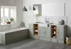 Light and bright, the Pebble Grey finish that has recently been introduced to leading bathroom specialist Roper Rhodes' bestselling Burford fitted furniture range is perfect for those looking to create a relaxed and calming environment. Upstairs Bathrooms, Grey Bathrooms, Small Bathroom, Bathroom Ideas, Grey Vanity Unit, Vanity Units, Roper Rhodes, Small Basin, Timeless Bathroom