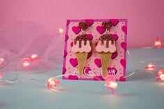 """""""Frosty Bath"""" #earrings #handmadejewellery #statementjewelry #icecreamparty #pink #fashion Cream Earrings, Funky Earrings, Funky Jewelry, Earrings Handmade, Handmade Jewelry, Passion Project, Ice Cream Party, Meet The Artist, Statement Jewelry"""