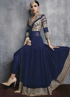 Navy Blue Embroidery Resham Work Georgette Long Anarkali Gown Suit