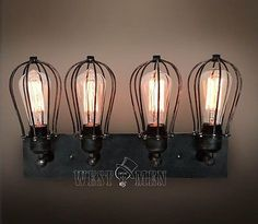 Westmenlights Hot Industrial Cage Wall Sconce Lamp Vintage 4 light Fixture Black Home Decor