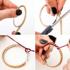 DIY chain wrapped hoops in under 10 minutes. Wire Jewelry, Beaded Jewelry, Handmade Jewelry, Hoop Dreams, Mardi Gras Beads, Ankle Chain, Black Rhinestone, Bijoux Diy, Diy Earrings