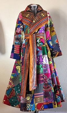 """With Flare Featuring Designer Caprice Cole Collaboration Reversible Wrap """"Queen"""" Trench Patchwork Angelina Print 100% Cotton CRAZY BEAUTIFUL. This lush wrap style trench coat has pockets and includes a sash and is FULLY REVERSIBLE.  Ankara 