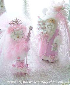 Shabby Chic Pink Snowman Snowlady
