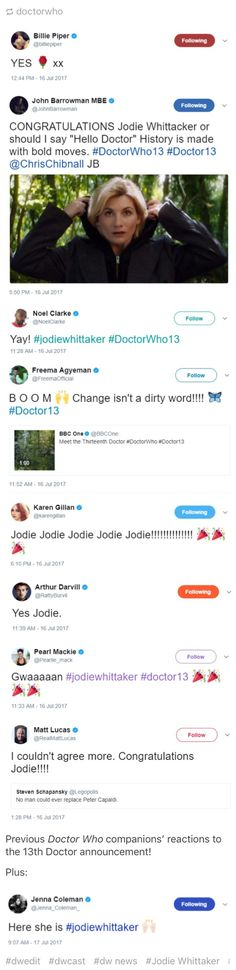 Previous Doctor Who companions' reactions to the 13th Doctor announcement! regenerationofthedoctor.tumblr.com #No Man Could Ever Replace Peter Capaldi!
