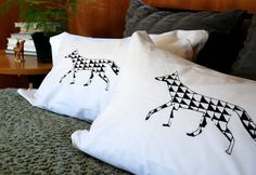 Geometric Fox Hand Screen Printed Pillowcase by branchhandmade, $18.00