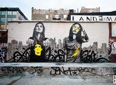 """Angelina Christina """"Los panas"""" Installation Street Art, Murals Street Art, Street Art News, 3d Street Art, Street Art Graffiti, Mural Art, Street Artists, Wall Street, Banksy Graffiti"""