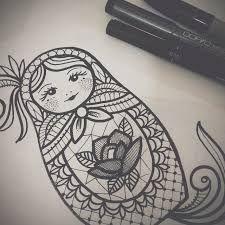 Risultati immagini per matrioska tattoo sketch