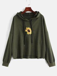 Women Hoodies Harajuku Hooded Sequin Flower Embroidered Hoodies Sweatshirts Casual Tops Ladies Clothes Army Green Hoodies S Winter Outfits, Casual Outfits, Cute Outfits, Fashion Outfits, Winter Clothes, Fashion Fashion, Fashion Women, Fashion Ideas, Vintage Fashion