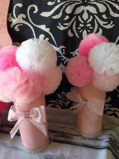 Items similar to Pink & White Glitter Tulle Pom Centerpieces, Shower Decorations on Etsy Princess Party Centerpieces, Pom Pom Centerpieces, Wedding Shower Centerpieces, Glitter Centerpieces, Pom Pom Decorations, Glitter Wine, White Glitter, Pink White, Happy Birthday Cupcakes