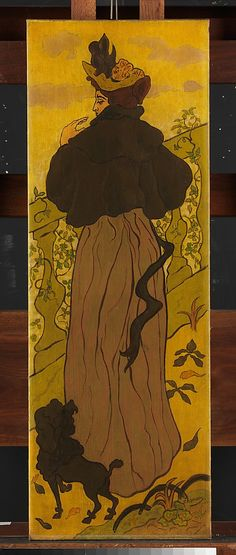 The Metropolitan Museum of Art Woman Standing beside Railing with Poodle Paul Ranson (French, Limoges Paris) Date: ca. 1895 Medium: Oil on panel Dimensions: 33 x 11 in. x cm) Classification: Paintings Credit Line: Gift of Mrs. Maurice Denis, Edouard Vuillard, Henri Matisse, Stella Art, Art Nouveau, Alphonse Mucha Art, Ecole Art, European Paintings, Art Moderne