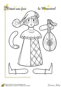 Coloriage d'une marionnette articulée, le ménestrel - Hugolescargot.com