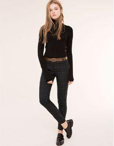 Pull&Bear - donna - novità - pantaloni a sigaretta a quadri con cintura - verde - 05685322-I2015