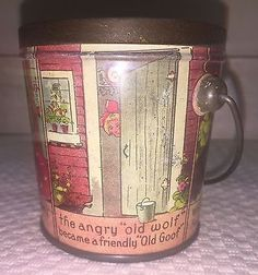 ANTIQUE-LOVELL-amp-COVEL-LITTLE-RED-RIDING-HOOD-VINTAGE-CANDY-TIN-BOSTON-MA-RARE