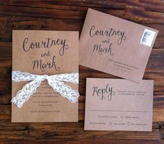 Calligraphy Kraft & Lace Wedding Invitation by paperandlaceaustin
