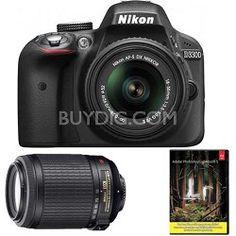 Nikon D3300 with 18-55mm, 55-200 VR II Lenses (Black)  Factory Refurbished   Adobe LR5