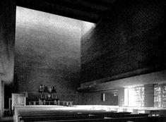 "germanpostwarmodern:  "" Härlanda kyrka (1956-58) in Gothenburg, Sweden, by Peter Celsing  """