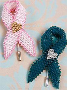 To order pattern go to: http://www.interweavestore.com/awareness-ribbon-pin