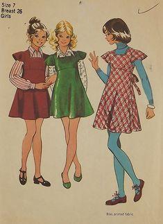 Vintage 70's Sewing Pattern Girls' Jumper by SuzisCornerBoutique, $9.00