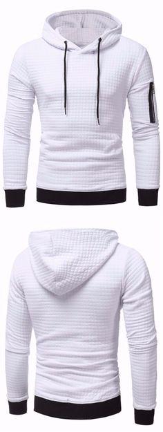 Hooded Plaid Embossing Zip Pocket Pullover Hoodie