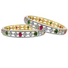 22k Gold Plated Simulated Ruby Emerald with CZ Bangle Bracelet set of 2. The Measure of the Bangle is 10mm wide. The Inside Diameter of the Bangle is 58mm. The