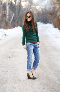 Boyfriend jeans and wedges
