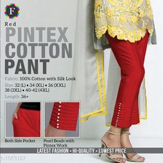 Trousers & Pants Trendy Cotton Women's Pant  *Fabric* Cotton  *Size* L - 32 in, XL - 34 in, XXL -36 in, 3XL - 38 in, 4XL - Up To 40 in To 42 in  *Length* Up To 36 in  *Type* Stitched  *Description* It Has 1 Piece Of Women's Pant  *Work* Beads Work  *Sizes Available* L, XL, XXL, XXXL, 4XL *    Catalog Name: Jivika Pretty Cotton Women's Pants CatalogID_129835 C79-SC1034 Code: 574-1063127-