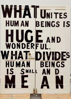 Bob and Roberta Smith What Unites Human Beings A5 Postcard
