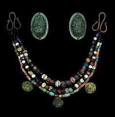 Viking Tortoise Brooch, Pendant and Bead Set, 9th Century AD