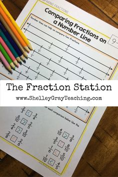 Number lines are a great way to compare fractions! Find this activity in the third grade Fraction Station - a self-paced, student-centered program - here > www. 4th Grade Fractions, Teaching Fractions, Fifth Grade Math, Teaching Math, Comparing Fractions, Grade 3, Teaching Ideas, Homeschool Math, Curriculum