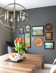 gallery wall in kitchen on wall painted dark grey Small Tables, Hanging Art, Home Look, Dark Grey, Gallery Wall, Interior Design, Create, Artwork, Kitchen