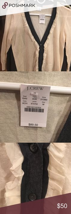 J. crew cardigan NWT J. Crew cardigan size M cream bench with ruffles grey and black trim. Chiffon trim. J. Crew Sweaters Cardigans