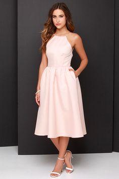 Lead a Charmed Life Peach Midi Dress