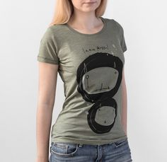 Women's Graphic Tee printed on 100% organic slub cotton in khaki color.Cool graphic tees shop for men & women.Unique tees, sweet graphic style.