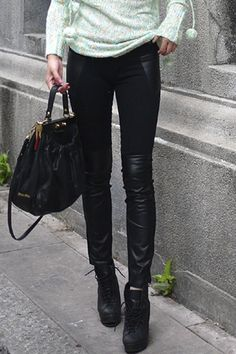 Montage Leather Black Pants