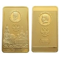 Wish | Russia Gold Bar Russian President Vladimir Putin And Kremlin 24K Gold Bar 1OZ Replica Souvenir Coin Collection (Size: 50mm by 28mm by 3mm, Color: Gold)