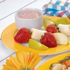 Chocolate Cream Cheese Fruit Dip - great with strawberries and bananas