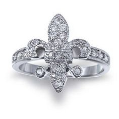 Bling Jewelry Sterling Silver Pave Clear CZ Vintage Style Fleur de Lis Ring