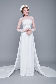 Áo dài cưới trắng cách tân kết ren đuôi xoè rộng