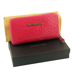 Michael Kors Embossed Logo Large Rose Wallet