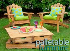 Pallet Adirondack Chairs and Revolving table w drawers by roji