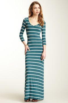 Striped 3/4 Sleeve Maxi Dress