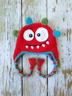 SALE Crochet baby monster hat red 05T by GBabyCrochet on Etsy, $23.00