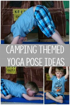 Camping Themed Activities! Camping themed yoga pose ideas are a must for any camping unit, camping lover or just a fun way to incorporate kids yoga. Check out the fun names of the poses!
