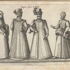 Vier vrouwen, gekleed volgens de Spaanse mode in Toledo, ca. 1580, Bartolomeo Grassi, in or before 1585 - Rijksmuseum