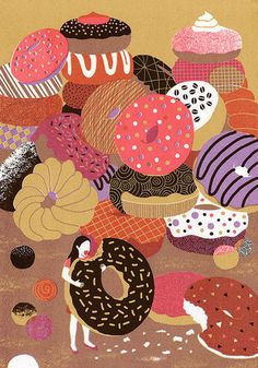 A very sweet illustration entitled Secret Pleasure, by Boyoun Kim. I adore the sophisticated use of colour and pattern.